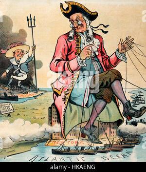 """Der Chicago Neptun - politische Karikatur zeigt einen großen älteren kolonialen Mann mit der Bezeichnung """"N.Y"""" auf - Stockfoto"""