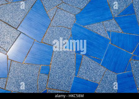 Natürliche blaue Pflaster Keramikfliesen, die Textur für Boden, Wand oder Pfad. Traditionelle Zaun, Gericht, Hinterhof - Stockfoto