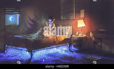 Jungen lesen Tablet im Schlafzimmer und etwas unter dem Bett, Illustration, Malerei - Stockfoto