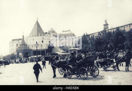 Echte IXX Jahrhunderts historische schwarz-weiß-Foto der europäischen Stadt - Stockfoto