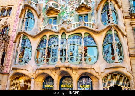 Casa Batllo Hausentwurf von Antonio Gaudi, Barcelona, Katalonien, Spanien - Stockfoto