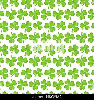 Klee Musterdesign. St. Patricks Day endlos wiederholt Kulisse, Textur, Wallpaper. Symbol für Glück. Vektor-illustration - Stockfoto