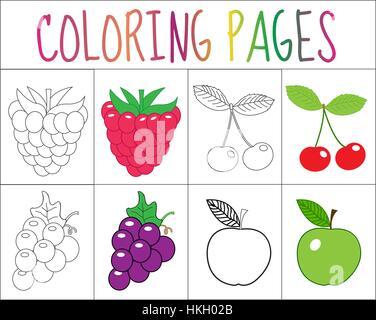 Buch, Seite Färbung. Früchte Kollektion. Skizze und Farbe Version ...