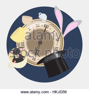 Alice im Wunderland. Verrückten Teeparty mit Hutmacher, Siebenschläfer und weiße Kaninchen. Retro-Abbildung. - Stockfoto