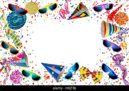 bunte Party Karneval Geburtstag Feier Hintergrund mit bunten Streamer Bonbons Lolly pop Sonnenbrille Konfetti Hut - Stockfoto