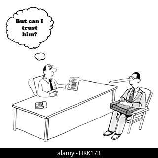 Geschäftliche Zeichentrickfilm über ein Unternehmer Fragen, ob er den Verkäufer mit der langen Nase Vertrauen kann. - Stockfoto
