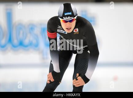 Berlin, Deutschland. 27. Januar 2017. Der japanische Sportler Shane Williamson während der 1500m Männer Wettbewerb - Stockfoto