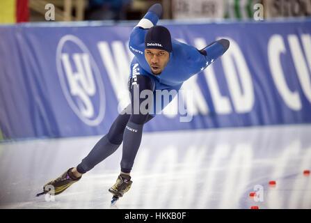 Berlin, Deutschland. 27. Januar 2017. US-amerikanischer Leichtathlet Shani Davis während der 1500m Männer Wettbewerb - Stockfoto