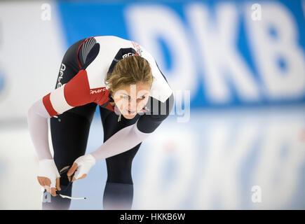Berlin, Deutschland. 27. Januar 2017. Der tschechische Athlet Karolina Erbanova während die 1000m Frauen Wettbewerb - Stockfoto