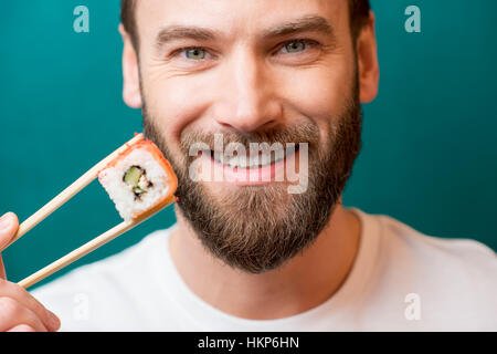 Mann mit sushi - Stockfoto