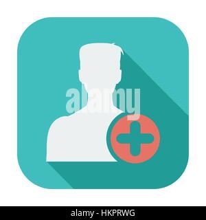 Zu Freunden hinzufügen. Flache einzelnes Symbol. Vektor-Illustration. - Stockfoto