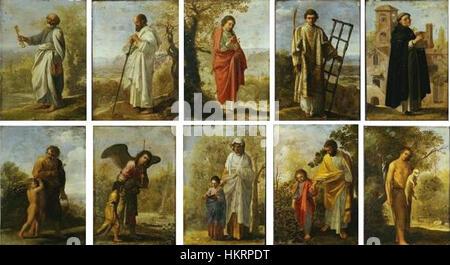 Cornelis van Poelenburch - eine Reihe von kleinen religiösen Szenen (nach Adam Elsheimer) - Stockfoto