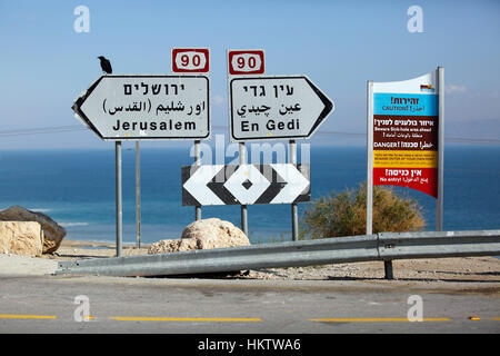 Das Tote Meeresküste in der Nähe von En Gedi in Israel, 22. Januar 2017. Dolinen sind ein wachsendes Problem im - Stockfoto