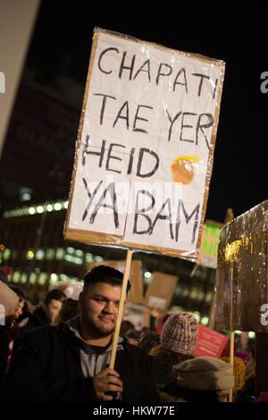 Glasgow, Vereinigtes Königreich. 30. Januar 2017. Protest gegen die Politik und die Präsidentschaft von Donald Trump, - Stockfoto