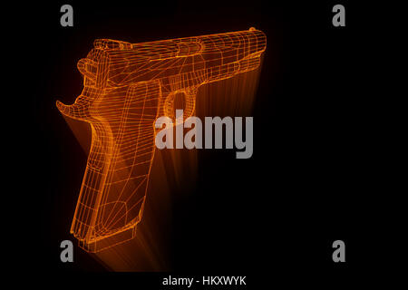 Pistole Waffe Hologramm Drahtmodell in Bewegung. Schönes 3D ...