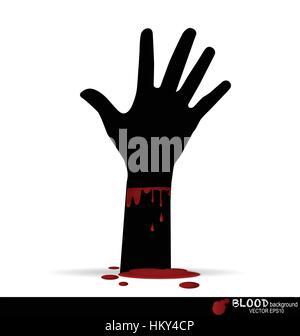 Eine blutige Hand mit Blut tropfte. Vektor-Illustration. - Stockfoto
