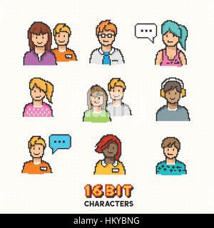 Eine Sammlung von jungen Erwachsenen Zeichen in 16-Bit Grafik. Vektor-illustration - Stockfoto