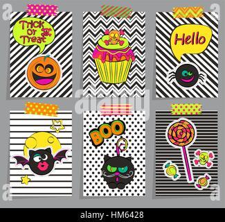 Reihe von stilvollen Halloween-Karten, Sticers, Plakate, Ikonen, Pins, patches in Comic-Cartoon-Stil auf geometrischen - Stockfoto