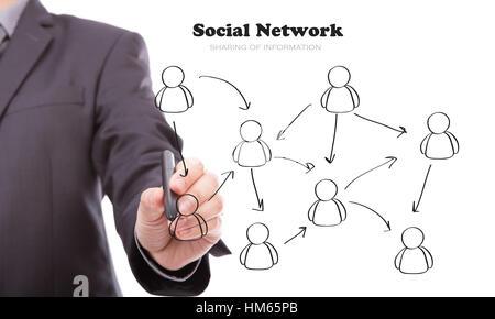 Geschäftsmann Handzeichnung ein Sozialnetz-Schema auf einem whiteboard - Stockfoto