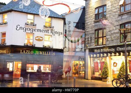 Gewerbegebiet von Galway in Weihnachten, Galway, Irland - Stockfoto