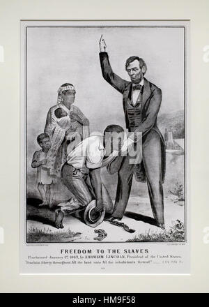 """""""Die Freiheit der Sklaven"""" Currier & Ives Lithographie ca. 1863 - USA - Stockfoto"""