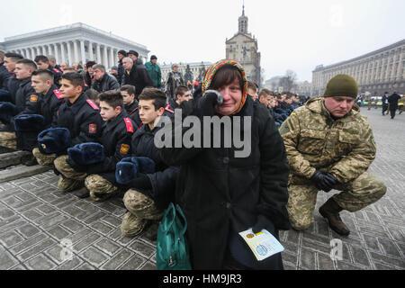 Kiew, Ukraine. 1. Februar 2017. Tausende von Menschen kamen zu den zentralen Platz von Kiew Maidan Nezalezhnosti - Stockfoto