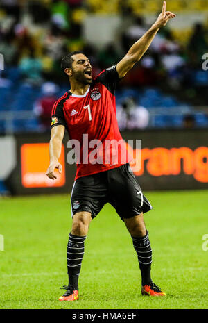 Libreville, Gabun. 1. Februar 2017. Ägyptens Ahmed Fathi reagiert während ein Halbfinalspiel 2017 Africa Cup of - Stockfoto