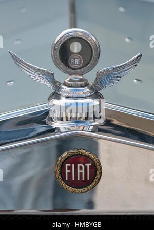 NOVIGRAD, Kroatien - 13. September 2014: Vintage Kühler und das Emblem des Fiat Autos auf der 5. internationalen - Stockfoto