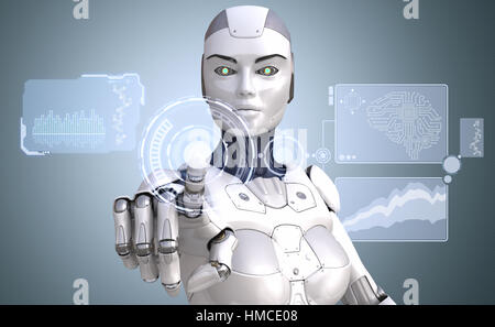 Roboter arbeitet mit Hightech-Touchscreen. 3D illustration - Stockfoto