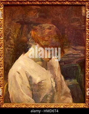 '''La Rousse in einer weißen Bluse '', 1889, Henri de Toulouse-Lautrec, Museo Thyssen-Bornemisza, Madrid, Spanien - Stockfoto
