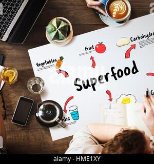 Gesundes Essen Essen Linienschriebe Konzept - Stockfoto
