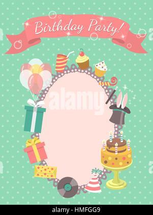Moderne Wohnung Geburtstag Party Einladung Karte Geburtstag Symbole, z. B. Geschenke, Ballons, Geburtstagstorte - Stockfoto