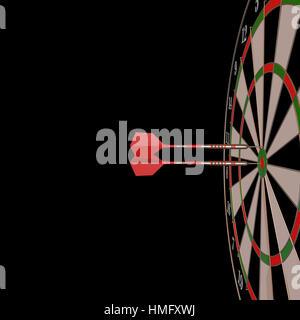 Darts und Pfeile 3D-Illustration auf schwarz - Stockfoto