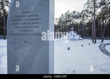 31. Januar 2017 - Kiew, Kiew, Ukraine - Gedenkstein in der polnischen Friedhof für die Opfer von Katyn Ausführung - Stockfoto