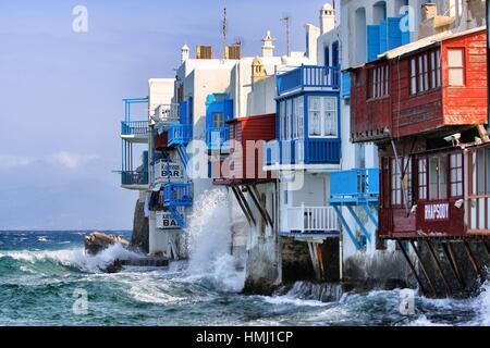 Klein-Venedig, Insel Mykonos, Griechenland, Europa - Stockfoto