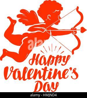 Happy Valentinstag, Grußkarte. Fliegende Engel oder Amor mit Pfeil und Bogen. Vektor-Illustration isoliert auf weißem Hintergrund Stockfoto