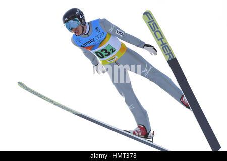 A. internationale Skisprung-Komplex, Almaty, Kasachstan. 5. Februar 2017. Gehen Sonehara (JPN), kombiniert 5. Februar - Stockfoto