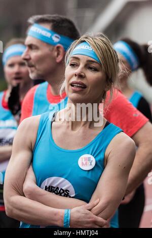 London, UK. 5. Februar 2017. Trainingstag auf der Queen Elizabeth Olympic Park in Stratford mit den Läufern, die - Stockfoto
