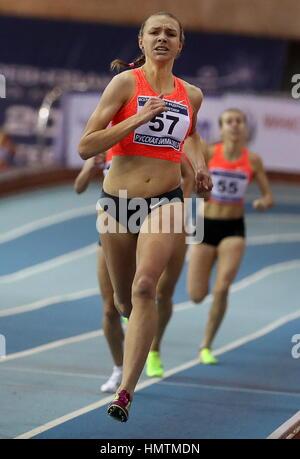 Moskau, Russland. 5. Februar 2017. Russlands Alexandra Gulyayeva konkurriert in 1500m bei der 26. russischen Winter - Stockfoto