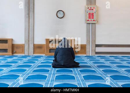 """London, UK. 5. Februar 2017. Ein Mann betet an den """"besuchen Sie meine Moschee-Tag"""" in Central London Moschee in - Stockfoto"""