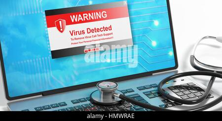 Virus-Alarm auf einem Laptop-Bildschirm und ein Stethoskop. 3D illustration - Stockfoto