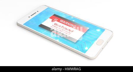 Virus-Alarm auf einem Smartphonebildschirm auf weißem Hintergrund. 3D illustration - Stockfoto