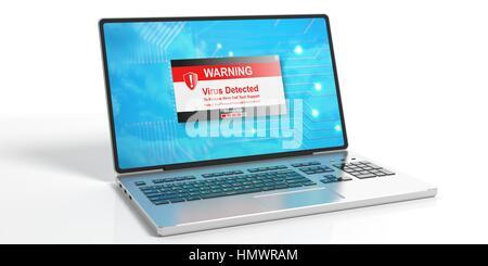 Virus-Alarm auf einem Laptop-Bildschirm auf weißem Hintergrund. 3D illustration - Stockfoto
