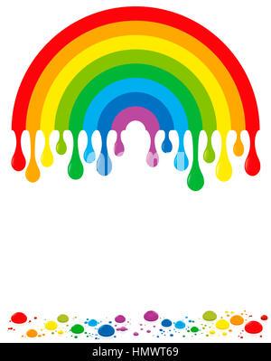 Regenbogen Farbtropfen - Stockfoto