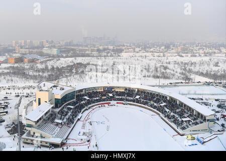 A. internationale Skisprung-Komplex, Almaty, Kasachstan. 5. Februar 2017. Gesamtansicht, 5. Februar 2017 - Skispringen: - Stockfoto