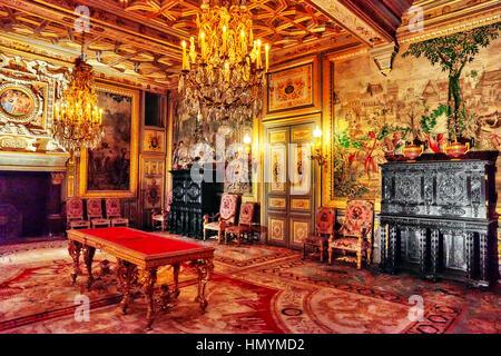 FONTAINEBLEAU, Frankreich - 9. Juli 2016: Fontainebleau Palast Interieur. Die Francois ich Salon. Schloss war eines - Stockfoto