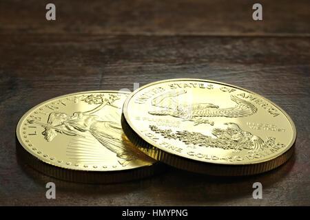 1 Unze American gold Eagle Anlagemünzen auf hölzernen Hintergrund - Stockfoto