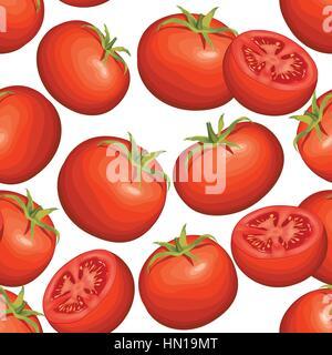 Tomaten auf weißem Hintergrund. Pflanzliche nahtlose Muster. Herbst Ernte Fliesen- Landwirtschaft ornamentale Tapete. - Stockfoto
