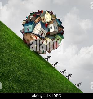 Immobilien-Stress als eine Gruppe von Einfamilienhäusern geprägt als gefährliche fallende Kugel als Symbol für eine - Stockfoto