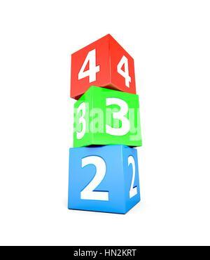 Stapel von 3 farbige nummerierte Würfel, zwei, drei und vier. - Stockfoto